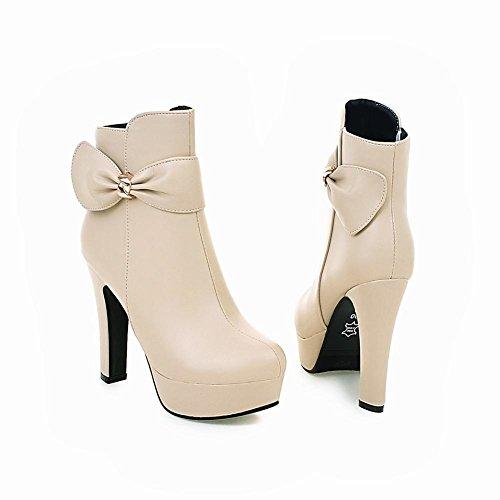 Latasa Womens Fashion Bow Platform High Heels Ankle Dress Boots Beige pi44c6pKE