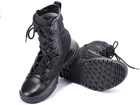砂漠の戦闘ブーツ快適なスエードハイヘルプレースアップスタイルハイキングブーツの滑り止め耐摩耗ラバーソールについてはアウトドアスポーツ (色 : 黒, サイズ : 24.5 CM)