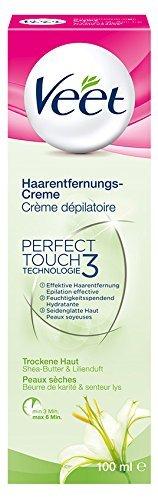 Veet Haarentfernungs-Creme für trockene Haut mit Shea Butter & Lilienduft, 3er Pack (3 x 100 ml)