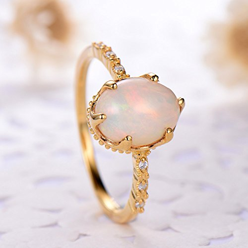 Oval Cut Opal Engagement Ring 925 Sterling Silver Yellow Gold Plated Solitaire CZ Diamond Promise Gift by Milejewel Opal Engagement Ring (Image #4)