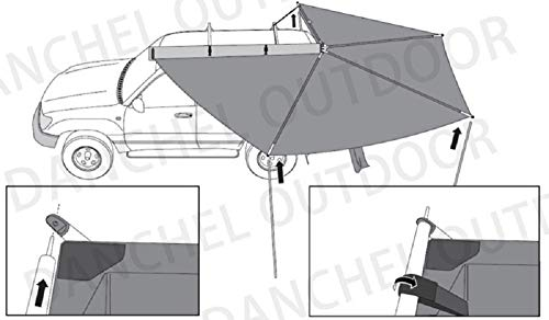 DANCHEL OUTDOOR 270 Degree Sector Shaped car Side foxwing Awning (Khaki, Dia. 8.2ft Left) by DANCHEL OUTDOOR (Image #7)