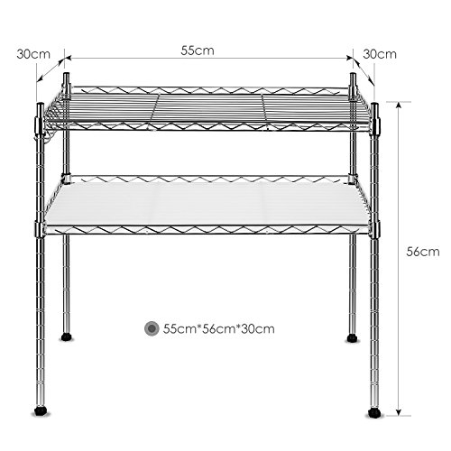 Homfa Kichen Microwave Oven Rack Shelving Unit,2-Tier Adjustable Stainless Steel Storage Shelf (Small Microwave Shelf compare prices)