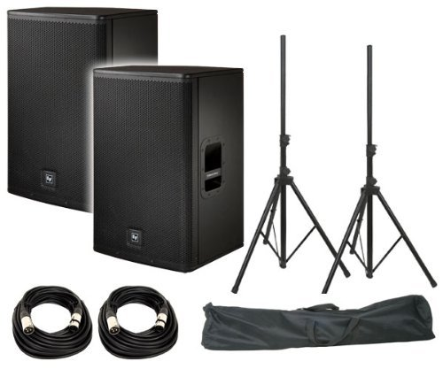 Electro-Voice ELX115P 15'' Live X Two-Way Powered Loudspeaker (Pair) / FREE ProX T-SS20P Standard Speaker Stands w/ Bag / FREE (2) XLR to XLR Cables 20ft ea by Electro Voice
