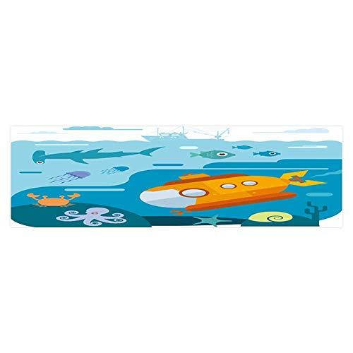 Dragonhome Decorative Aquarium Background Flat Vector of Underwater sea Life of Submarine div and explor sea Decal Sticker Home Decor Art L35.4 x ()