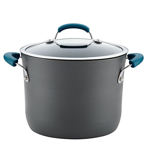 Rachael Ray Hard-Anodized Aluminum Nonstick Covered Stockpot, 8-Quart, Gray with Marine Blue Handles ()