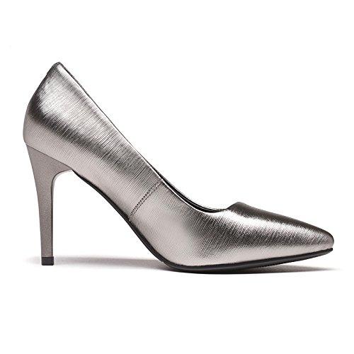 Cour De 5 Travail Haute Chaussures en 8 39 Femme Silver Sexy Nightclub Chaussures EU Noir Talons Party Mariage Mode 8 6 Cuir UK nzY5xgBqwx