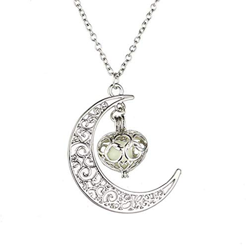 D-XinXin Moon Pendant Necklaces Luminous Hollow Moon Necklace Natural Quartz Chakra Healing Gemstone Necklace Chain
