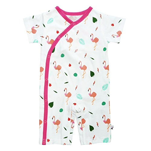 Babysoy 100% Lightweight Organic Cotton Flamingo Pattern Kimono Romper (6-12 Months, Berry) Berry Kids Clothing