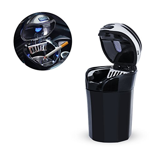 EFORCAR Car Ashtray,Easy Clean Up Car Ashtray With Blue LED Light Rechargeable Cigarette Lighter,Detachable Stainless and Portable Auto Ashtray for Universal Car Cup Holder