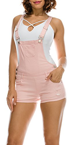 TwiinSisters Women's Destroyed Slim Curvy Pants Stretch Short Overalls Size S - 3X (Large, Blush)