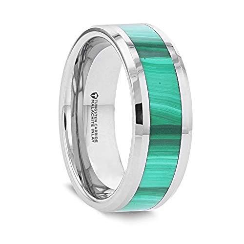 MAHI Malachite Inlay Tungsten Carbide Ring with Polished Beveled Edges - 8mm