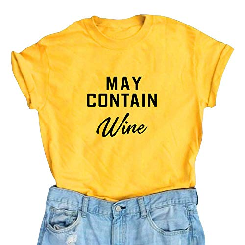 May Contain Wine T Shirt Women' s Letter Print Funny Wine Lovers T-Shirt Short Sleeve Tops (Yellow01, L)