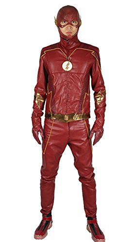 Flash Costume Deluxe PU Suit Season 4 Red Outfit Halloween Cosplay Costume (Halloween Costumes Four Seasons)