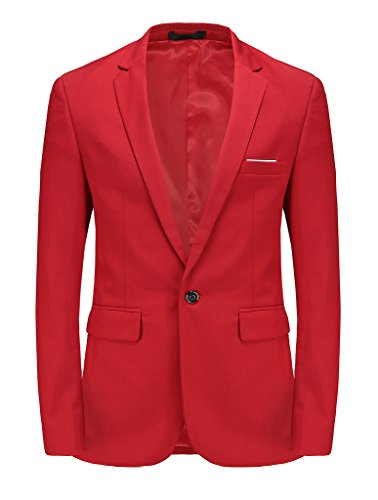 MOGU Mens Slim Fit One Button Casual Blazer Jacket US Size 38 (Label Asian Size 3XL) Bright Red