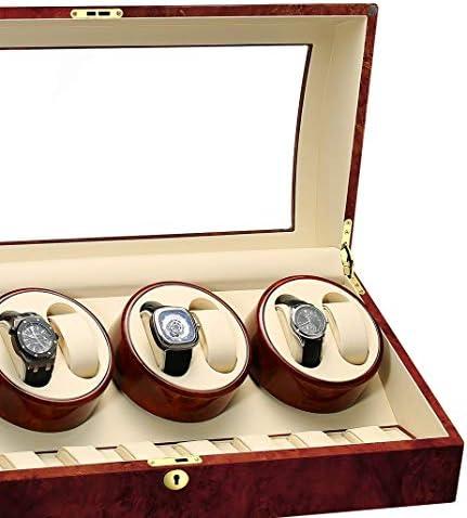 Audivik Carica Orologi Automatici Batteria 8+9,Automatic Watch Winder 8 Box Pelle di Legno Carica Orologi Orologi Scatola Orologio Scatola Guarda la Scatola Marrone