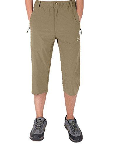 - BIYLACLESEN Men's Casual 3/4 Joggers Pants Workout Gym Capri Shorts Zipper Pockets Khaki
