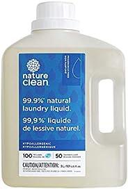 Nature Clean Laundry Liquid Detergent, Fragrance Free, Sensitive Skin Tested 3 Liter