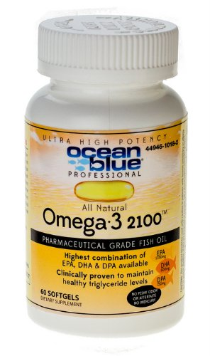 Ocean blue Professional Omega-3 2100 Olcenic Blend - Clinically Proven to Lower Triglycerides - Highly Recommended by Doctors and Pharmacists - Made with Wild Caught Alaskan Fish Oil - 60 Count