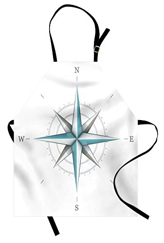 Ambesonne Compass Apron, Antique Wind Rose Diagram for