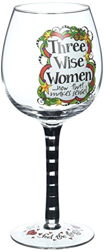 Enesco Gift Suzy Toronto Three Wise Woman Painted Wine Glass (Wine Toronto Glasses)