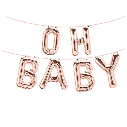 16 Inch Rose Gold OH BABY Foil Balloons Banners,For Girl Boy Birthday Party Baby Shower Photograph Ornament