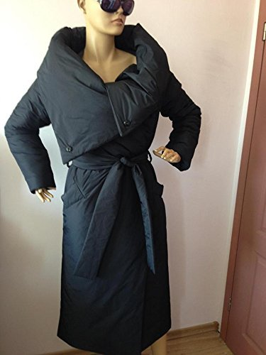 Long Loose winter collar square down jacket/Atmosphere comfortable and warm asymmetrical wrap overcoat in black.