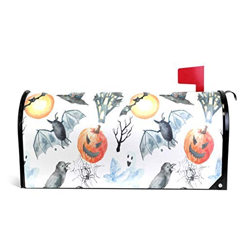 Tollyee Halloween Pumpkin Ghost Magnetic Mailbox Cover Magnetic Mailbox Cover 9