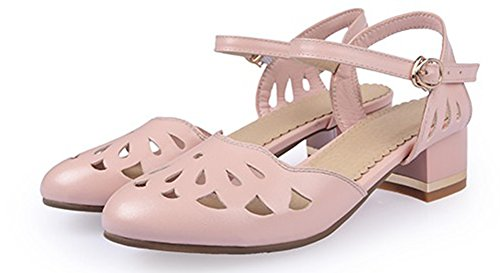 Le Donne Di Easemax Ritaglio Chiuso Punta Rotonda Fibbia Abito Blocco A Metà Tacchi Sandali Cinturino Alla Caviglia Scarpe Rosa