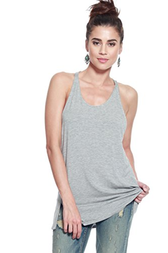 A+D Womens Casual Stretch Racer Back Sexy Blouse Top w/One Side Slit (S-XL)