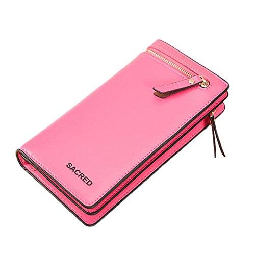 Coromose® Women Bifold Zipper Wallet Pu Card Clutch Holders (Hot Pink)