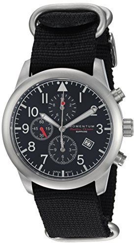 Men's Sports Watch | Flatline Chrono Adventure Watch by Momentum | Stainless Steel Watches for Men | Sapphire Crystal Analog Watch with Japanese Movement | Water Resistant (100M/330FT) | Classic Watch - Black / 1M-SN34BS7B