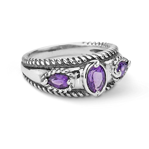 Carolyn Pollack Sterling Silver Amethyst Band Ring,  size 7