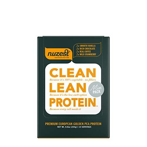 Nuzest Clean Lean Protein – Premium Vegan Protein Powder, Plant Protein Powder, European Golden Pea Protein, Dairy Free, Gluten Free, GMO Free, Naturally Sweetened, Mixed Pack, 10 Count