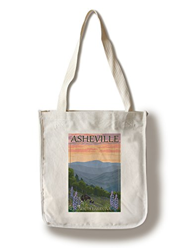 Asheville, North Carolina - Spring Flowers and Bear Family (100% Cotton Tote Bag - Reusable, Gussets, Made in - Asheville In North Shopping Carolina