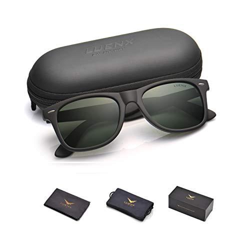 Mens Polarized Sunglasses for Womens UV 400 Protection Grey Green Lens Matte Black Frame ()