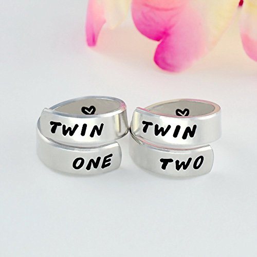 TWIN ONE, TWIN TWO - Hand Stamped Aluminum Spiral Rings Set, Twin Sisters Matching Pair Rings, BFF Friendship Rings, Personalized Gift