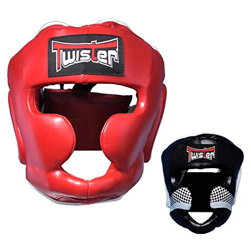 Twister Competition Boxing Head Guard Maya Hide Leather Muay Thai MMA Sparring Head Protection Headgear Without Cheeks (S/M)