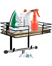 L&L Designs Ironing Board Hanger - Multipurpose Wall Mounted Organizer with Large Storage Basket & Removable Hooks - Great for Laundry Rooms, Bathrooms, Hallways - Rustic Black Metal & Wood Design