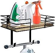 L&L Designs Ironing Board Hanger - Multipurpose Wall Mounted Organizer with Large Storage Basket & Rem