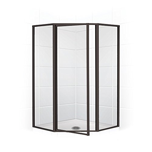 Legend Series 19 in. x 24 in. x 19 in. x 66 in. Framed Neo-Angle Swing Shower Door in Oil Rubbed Bronze and Clear Glass