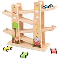 Arkmiido Toddler Wooden Car Track Toys with 4 Mini Car Racers