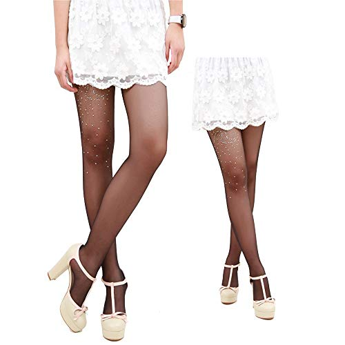 Women Mermaid Bikini Stockings Colorful Diamond Stockings Hot Drilling Base Socks, High Heel Pattern Black A