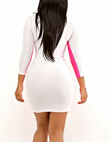 New Ladies Rosa y Blanco Mini Vestido De Bodycon Club Wear Party Wear TAMAÑO M UK 8 –�?0 EU 38 –�?0