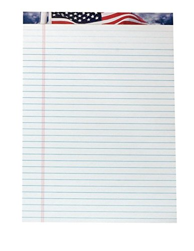 American Flag Writing Paper - TOPS 75111 American Pride Writing Pad, Legal/Wide, 8 1/2 x 11 3/4, White, 50 Sheets (Pack of 12)
