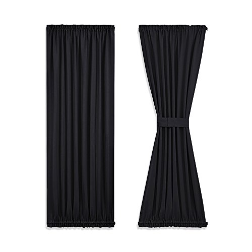 NICETOWN Privacy Door Curtain Panel - Practical Thermal Insulated Blackout Drapery and Drape for French Door/Patio (54W by 72L Inches, Black, 1 (French Pleated Drapes)