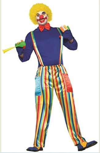 Forum Men's Carnival Clown Costume with Rainbow Pants, As Shown, STD (Clown Pants)
