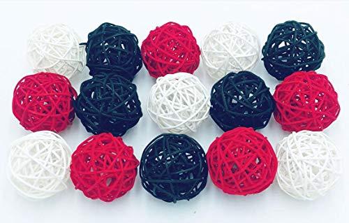 Fascola 15PCS Mixed Red Black White Wicker Rattan Ball Wedding Christening Baby Shower Nursery Mobiles Decoration ()
