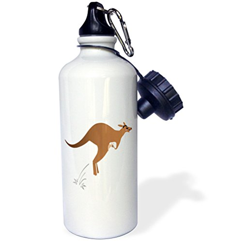 3dRose wb_120297_1 Cute Kangaroo Mom with Baby Joey in Pouch-Australian Kawaii Animal-Mama Mother and Child Cartoon Sports Water Bottle, 21 oz, White by 3dRose
