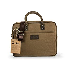 """The Northwoods Laptop Briefcase Bag // Vintage Rugged Design // Leather and Canvas paired with soft plaid interior lining. NEW! Fall of 2017! Fits MacBook 13"""" 15"""" Chromebook, Surface, Ipad, Tablets"""