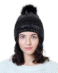 Black Sequin Beanie Hat with Faux Fur